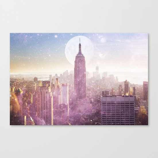 I LOVE PINK NEW YORK CITY SKYLINE - Full Moon Universe Canvas Print