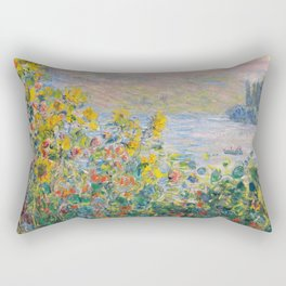 1881-Claude Monet-Flower Beds at Vétheuil-73 x 92 Rectangular Pillow