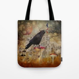 Raven in a City Tote Bag