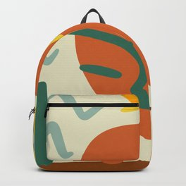 Orange Green And Yellow Portrait Abstract Face, Leaf And Star. Backpack