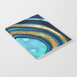 Agate Aqua Blue Gold #1 #abstract #shiny #decor #art #society6 Notebook