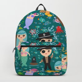 Mermaid with pirate, dark blue sea background Backpack