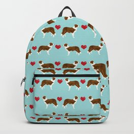 Border Collie red coat love hearts dog breed gifts collie dog patterns Backpack