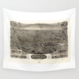 Bird's eye view of Plainville, Connecticut (1907) Wall Tapestry