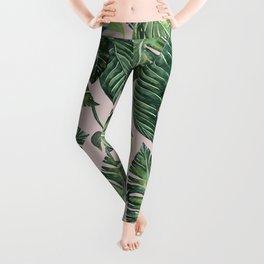 Jungle Leaves, Banana, Monstera Pink #society6 Leggings