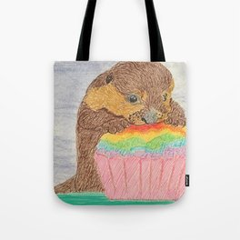 Otter with rainbow cupcake Tote Bag