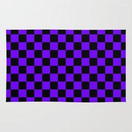 Black and Indigo Violet Checkerboard Rug