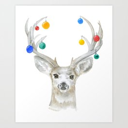 Deer with Christmas Ornaments Watercolor Art Print