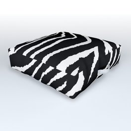 Animal Print Zebra Black and White Outdoor Floor Cushion