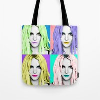 britney Tote Bags featuring BRITNEY POP by Lovejonny