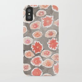 Watercolor flowers pink and gray by robayre iPhone Case