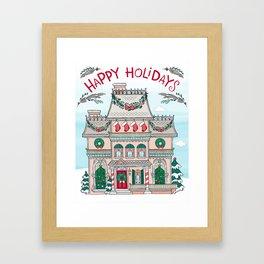 Happy Holidays House Framed Art Print