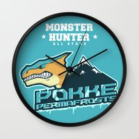 monster hunter Wall Clocks featuring Monster Hunter All Stars - Pokke Permafrosts  by Bleached ink