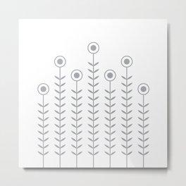 Minimalist Flowers (Dove Grey on White) Metal Print