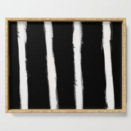 Medium Brush Strokes Vertical Off White on Black Serving Tray