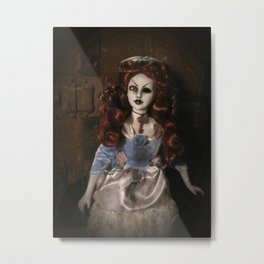 Creepy Gothic Victorian Lady Doll with Key Metal Print