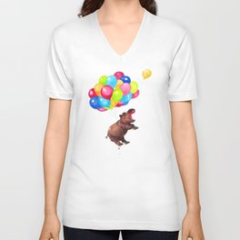 Hippopotamus Can Fly Unisex V-Neck