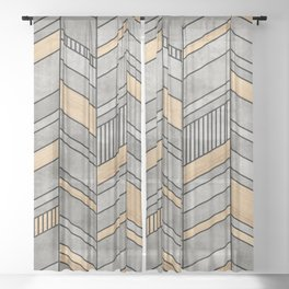 Abstract Chevron Pattern - Concrete and Wood Sheer Curtain
