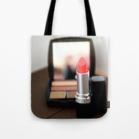 lipstick Tote Bags featuring Lipstick by Tanya Thomas