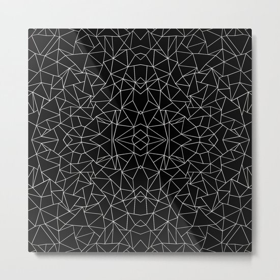 Abstract Collide Outline White on Black Metal Print