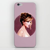 jennifer lawrence iPhone & iPod Skins featuring Jennifer  Lawrence  by Sophie Eves