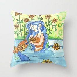 Sunflower Mermaid Throw Pillow