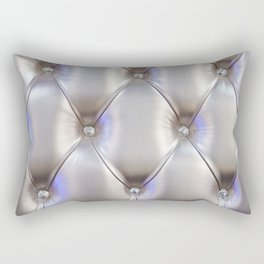 Silvery leather with rhinestone decoration Rectangular Pillow