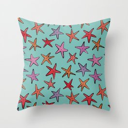 Starfishes in tropical sea Throw Pillow