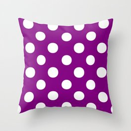 Polka Dots (White/Purple) Throw Pillow