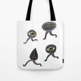 running surreal eyes mouth and nose creatures Tote Bag