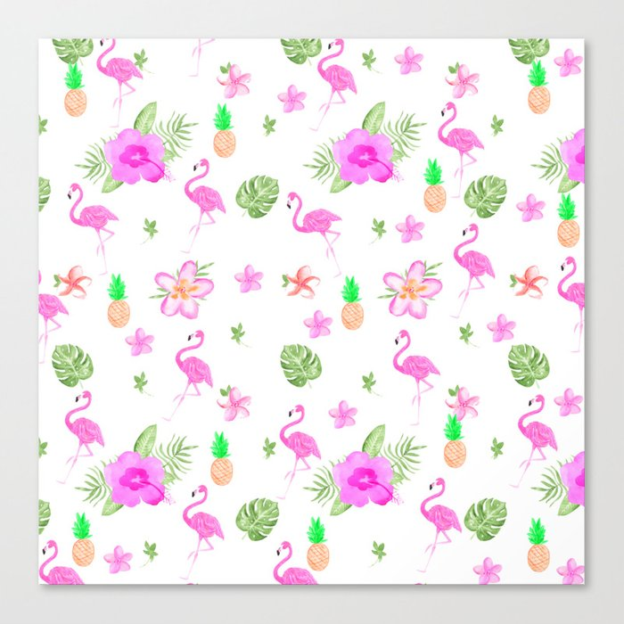 Modern Tropical Pink Watercolor Spring Flowers Cute Flamingo Canvas