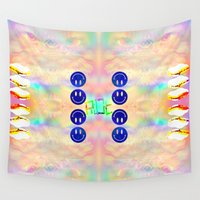 kit king Wall Tapestries featuring KIT CAT by Riot Clothing