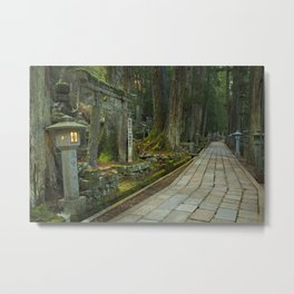 Path through Koyasan Okunoin cemetery, Wakayama Prefecture, Japan Metal Print