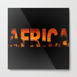 Africa Elephants Typography Metal Print