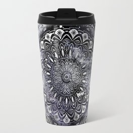 Galaxy Space Mandala (Black and White & Gray Scale) Mystical Adventurous Travel Mug