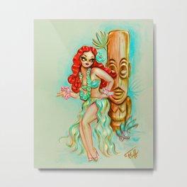 Redhead Hula Girl with Tiki Metal Print