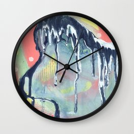 Dry Wave - Abstract Painting - Paint Drip  Wall Clock