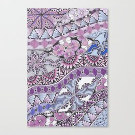 Zentangle Inspired Art (ZIA) Pink, Purple and Blue Canvas Print