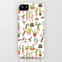 watercolor koala bears hanging out in their cactus succi garden iPhone Case