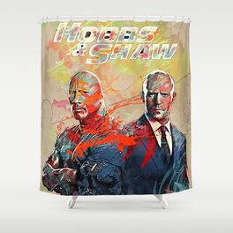 hobbs and shaw abstract art Shower Curtain