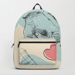 Two lovers are holding hands each other, Romantic line art illustration, valentines day gifts Backpack