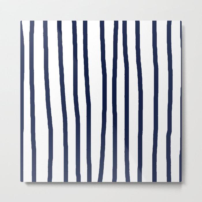 Simply Drawn Vertical Stripes Nautical Navy Blue on White Metal Print