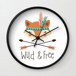 Tribal Fox Wall Clock