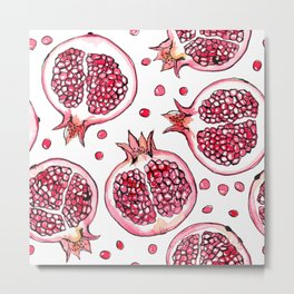 Pomegranate watercolor and ink pattern Metal Print