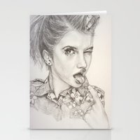 hayley williams Stationery Cards featuring Hayley Williams Portrait by AutumnGaurdian
