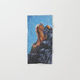 Beautiful black and tan Cavalier King Charles Spaniel Fine Art Dog Painting by L.A.Shepard Hand & Bath Towel