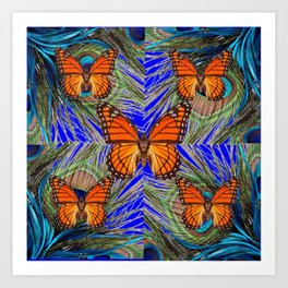 MONARCH BUTTERFLIES BLUE PEACOCK FEATHERS ART Art Print