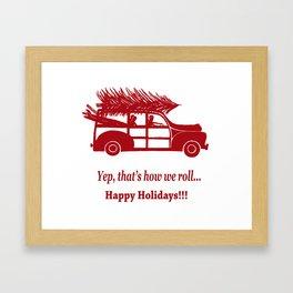 Happy Holidays Woody Framed Art Print