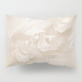 Fabulous butterflies and wattle with textured chevron pattern in subtle iced coffee Pillow Sham