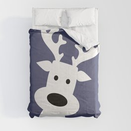 Reindeer on blue background Comforters